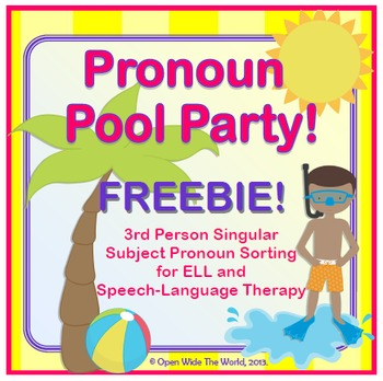 Speech Therapy - ELL - Pronouns Pool Party FREEBIE!