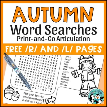 Speech Therapy: {FREE} Fall Word Searches for Articulation