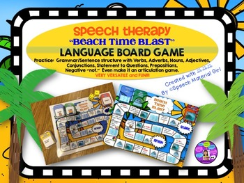 Speech Therapy Grammar Sentence Structure Board Game Beach