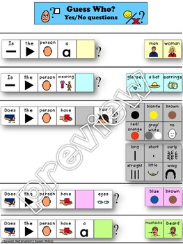 Speech Therapy Guess Who? Game VISUAL SUPPORT Asking Yes/N