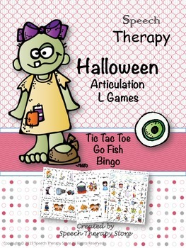 Speech Therapy Halloween Articulation L Games