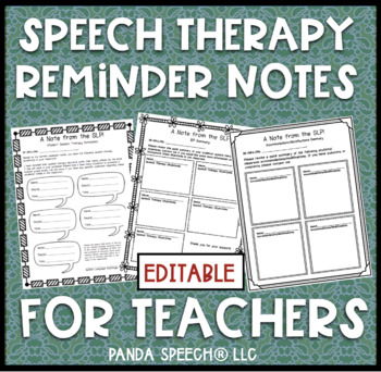 $1.00 Deal Speech Therapy Notes for Teachers