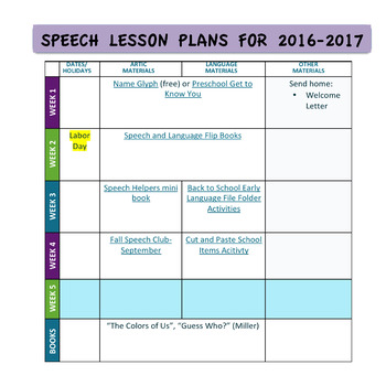 Speech Therapy Lesson Plans Pre K- 1st 2016-2017 FREE