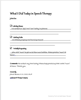 Speech Therapy Parent Notes