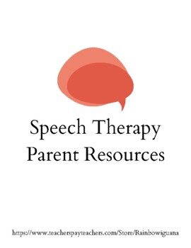 Speech Therapy Parent Resources