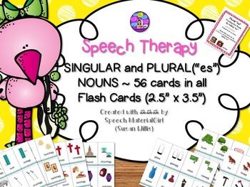"Speech Therapy Plurals ""es"" & Singular Nouns 56 flash cards total"