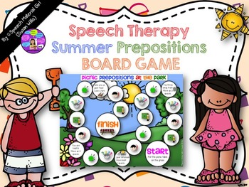 Speech Therapy SUMMER BOARD GAME prepositions basic concep