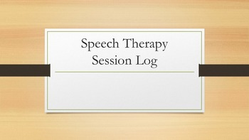 Speech Therapy Session Log