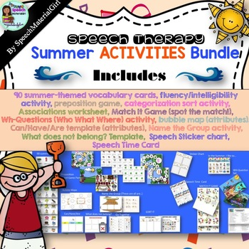 Speech Therapy Summer Bundle Prepositions Vocabulary Langu