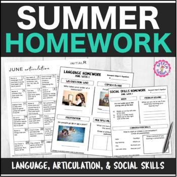 Speech Therapy Summer Homework Bundle: Articulation, Langu