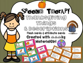 Speech Therapy Thanksgiving Vocabulary picture flash cards