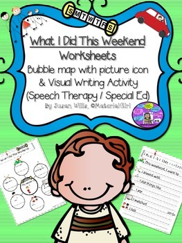 Speech Therapy THIS WEEKEND VISUAL BUBBLE MAP & WRITING WO