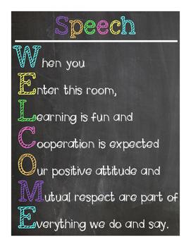 Speech Welcome Sign