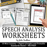 Speech Worksheets Analysis & Comprehension Graphic Organiz