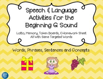 Articulation and Language Activities for the Beginning G Sound