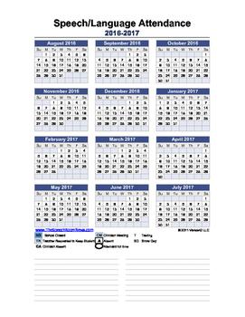Speech and Language Attendance Sheet FREEBIE