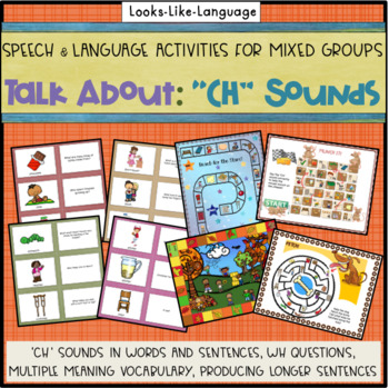 Speech Therapy Articulation & Language- Picture Cards- 'CH' Sound