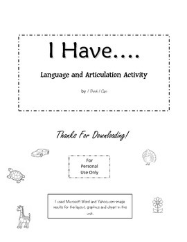 """Speech and Language """"I Have....."""" Printable"""