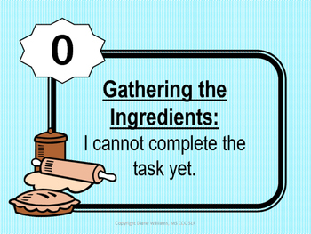 Speech and Language Student Rating Scales - Cooking Theme