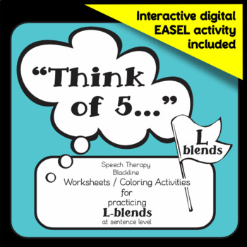 Speech therapy freebie - L-blends sentence level practice: