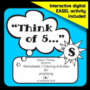 """Speech therapy - /s/ sentence level practice: """"Think of 5."""