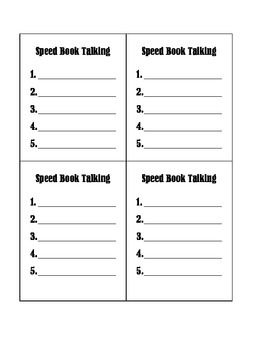 Speed Book Talking