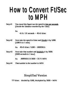 Speed Lab Baseball and Softball conversion sheet