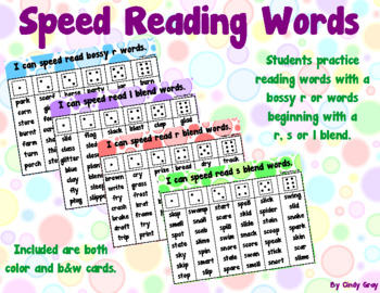 Speed Read Blends and Bossy R Words
