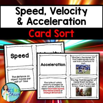 Speed, Velocity & Acceleration Card Sort
