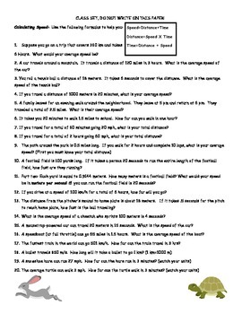Speed, Velocity and Acceleration Practice Sheet