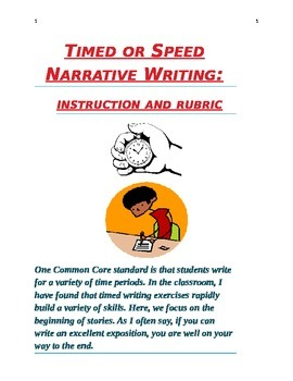 Speed or Timed Narrative Writing instructions, rubric, and