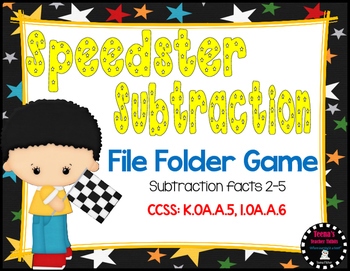 Speedster Subtraction File Folder Game Facts 2-5 CCSS 1.OA