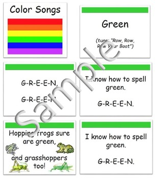 Spell Color Words- Sing Color Word Songs (Piggyback) & Dis
