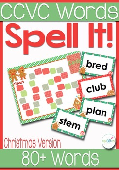 Initial Blends Board Game Christmas Themed CCVC/CCCVC