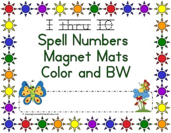 Spell Numbers Magnet Mats Color and BW