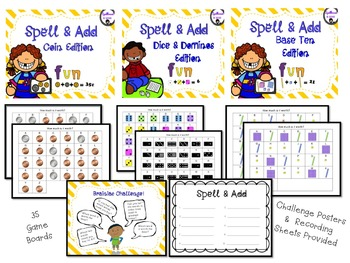 Spell and Add Bundle  (Coins, Dice, Dominos, Base Ten Blocks)