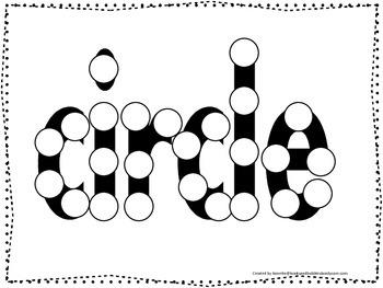 Spell the Shape Circle Do a Dot worksheet for preschool, d