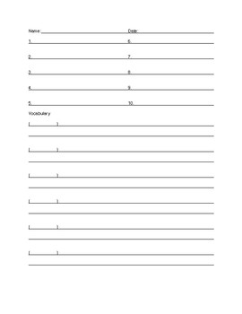 Spelling 10 and Vocab 10 Quiz Blank