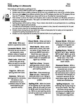 Spelling 3-2-1: Spelling Homework Differentiated