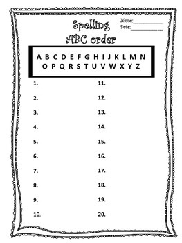 Spelling ABC Order