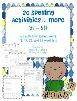 Spelling Activities for 1st - 5th :Use with ANY spelling l