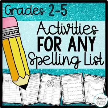 NO PREP Spelling Activity Worksheets for Any List 2nd, 3rd