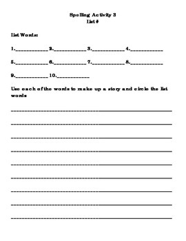 Spelling Activity 3 - Write a Story