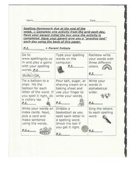 Spelling Activity Weekly Homework