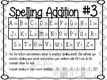 Spelling Addition #3
