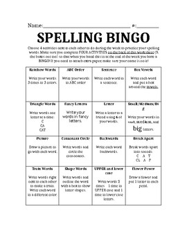Spelling BINGO activities