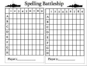 Spelling Battleship Game board