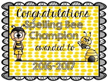 Spelling Bee Certificate (2016-2017)