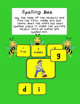 Spelling Bee Game with 3 letter words...first, middle and