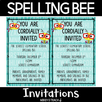 Spelling Bee Invitations {FREEBIE}